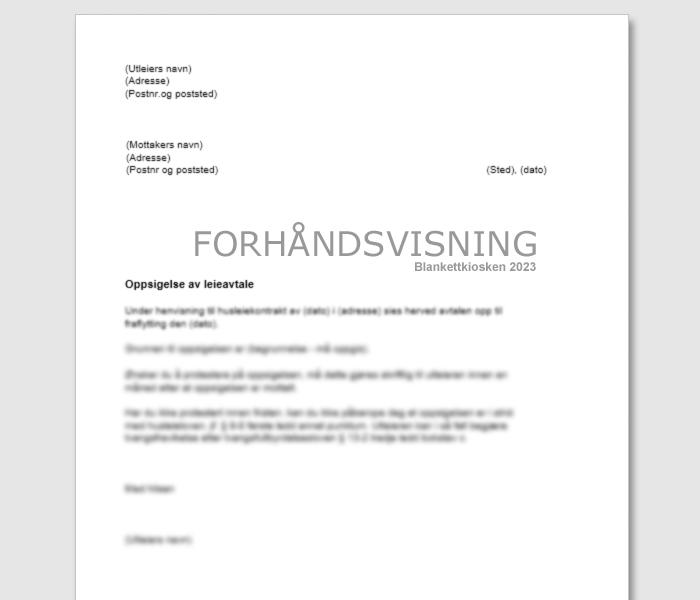 Leietakers oppsigelse av husleiekontrakt